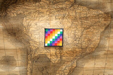 all indian flag on old south america map