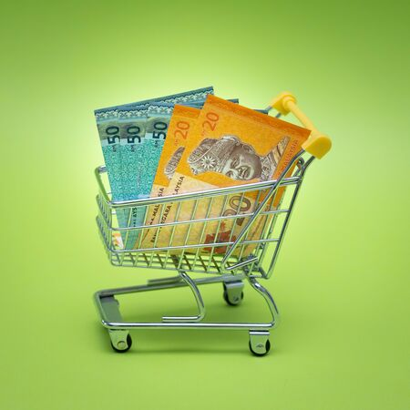 Miniature shopping trolley with Malaysian money. The concept of shopping and the power of the economy.