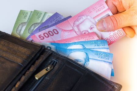Chilean pesos, various bills sticking out of the wallet