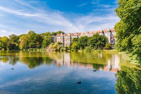 Szczecin. Parque de la ciudad de Kasprowicz. Un lugar de paseo y relajación para los residentes.