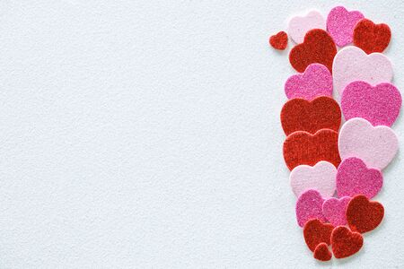 Valentine's Day. Hearts symbolizing the confession of our feelings and emotions to the other person. Empty space for text