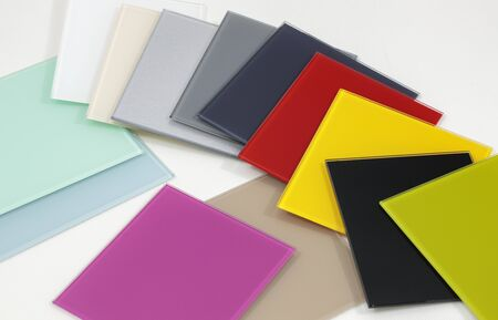 Colored glass material for interior finishing Banque d'images