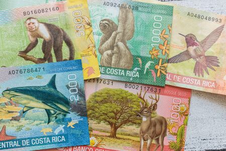Money from Costa Rica, Colones, Various banknotes spread out on the table