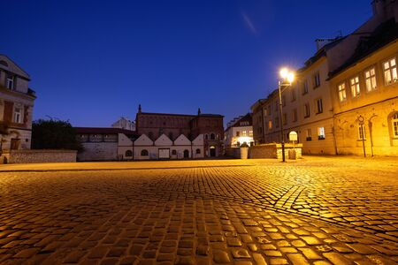 Cracow. The market of the old Jewish district of Kazimierz, Night view