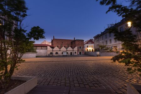 Krakow, Kazimierz District, historic architecture of the former Jewish, Night view