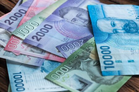 Money from Chile, Various banknotes all pesos Stock Photo