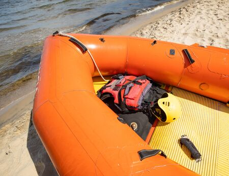 Rescue pontoon above water with equipment