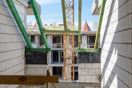 Construction site, View from the attic of the building, Roof beams