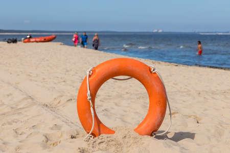 Lifebuoy on the beach, Holiday period