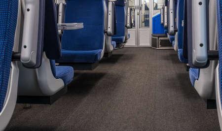 Interior of an empty passanger train. 免版税图像