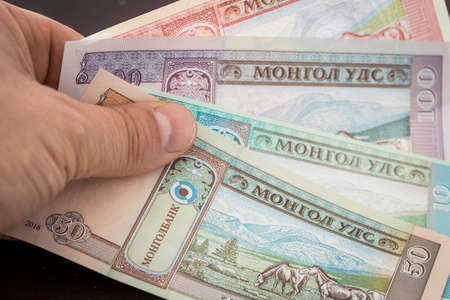 Mongolia currency, Tugrik money, Various banknotes held in the hand 免版税图像