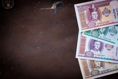 Mongolia currency, Tugrik money, Various banknotes, Place for text