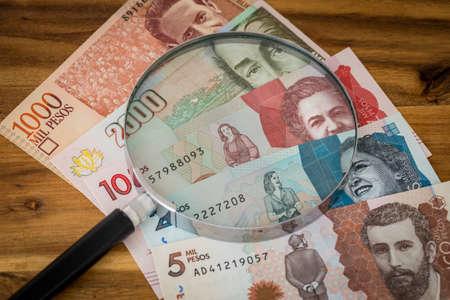 Colombian money, pesos banknotes
