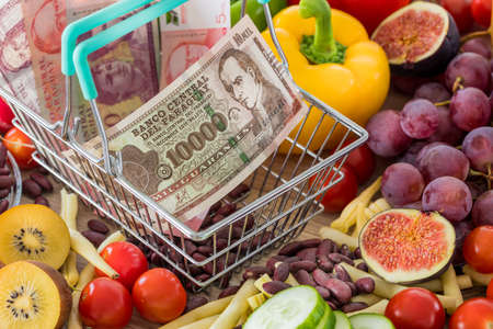 Shopping basket with Paraguay money, around food products, vegetables and fruits. The concept of inflation, rising prices and more expensive food
