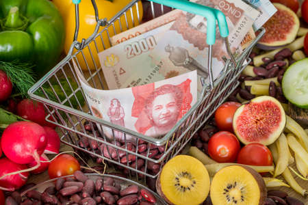 Shopping basket with Colombian pesos money, around food products, vegetables and fruits. The concept of inflation, rising prices and more expensive food