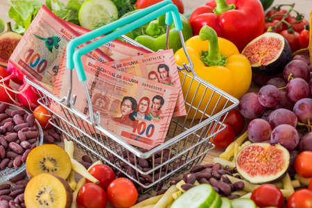 Shopping basket with Bolivian money, around food products, vegetables and fruits. The concept of inflation, rising prices and more expensive food