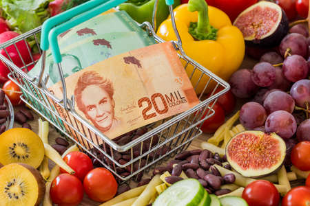Shopping basket with Costa Rica money, around food products, vegetables and fruits. The concept of inflation, rising prices and more expensive food