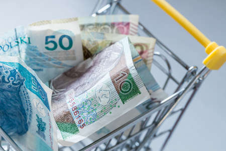 A shopping cart filled with money from Poland. The concept of rising prices in stores and rising inflation Zdjęcie Seryjne