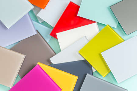Glass pieces of different colors. A material called Lacobel used for interior design