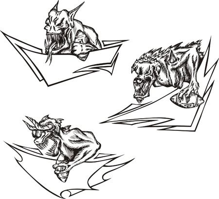 ugliness: Three terrible monster mascot templates with ribbons and balls related to American football. illustrations, black and white sketches. Illustration