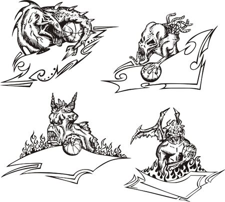 Four terrible monster mascot templates with ribbons and balls related to basketball.  illustrations, black and white sketches. Vector