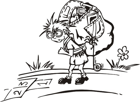 Travelling kid with big rucksack and hopscotch sketch on his path.   illustration, black and white sketch. Vector