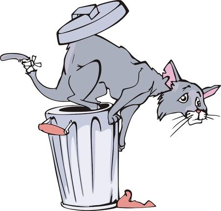 refuse: Cat and refuse bin cartoon