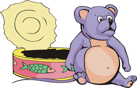 overeat: Fat overeated mouse near a can. Vector vinyl-ready EPS Illustration.