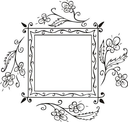 cadre noir et blanc: Carr� de d�coration florale frame de couvertures de livres et des pages de titre. Croquis de vecteur vinyl-ready Illustration EPS, noir et blanc. Illustration