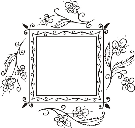 foursquare: Square floral frame decoration for book covers and title pages. Vector vinyl-ready EPS Illustration, black and white sketch.