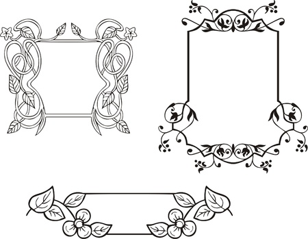Three decorative frames and ornamental panel. Vector vinyl-ready EPS Illustration, black and white sketches. Stock Vector - 8432152