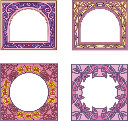 quadratic: Four ornamental colorfull frames for book or other product covers and booklets. Square form with arched or round center. Vector vinyl-ready EPS Illustrations.
