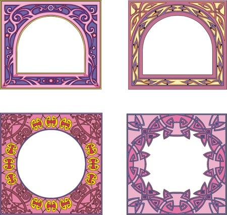 Quattro fotogrammi colorfull ornamentali per libro o altri prodotti copre e opuscoli. Forma quadrata con centro ad arco o rotondo. Illustrazioni di EPS vettoriale vinile.