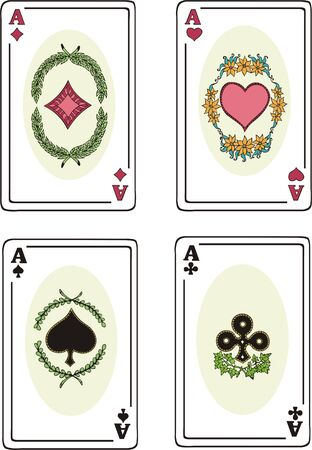 Full set of aces of playing cards: spades, hearts, clubs and diamonds. Vector Vinyl-ready EPS illustration. Stock Vector - 8432157