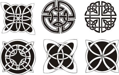 六つの結び目とんちきデザイン。ベクトル ビニール準備 EPS の図は、黒と白のスケッチ。