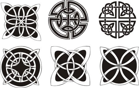 dingbat: Six knot dingbat designs. Vector vinyl-ready EPS Illustration, black and white sketches.