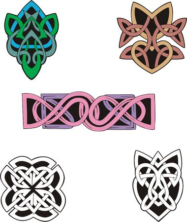 dingbat: Four knot dingbat designs and a knot border pattern. Vector vinyl-ready EPS Illustration, color & blackwhite sketches.