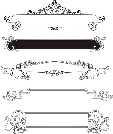 Five slim ornamental decorative panels for book covers or title pages. Vector vinyl-ready EPS Illustration, black and white sketches. Illustration