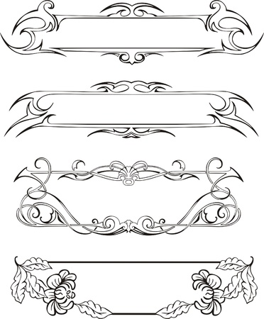 Four slim ornamental decorative panels for book covers or title pages. Vector vinyl-ready EPS Illustration, black and white sketches. Stock Vector - 8432151