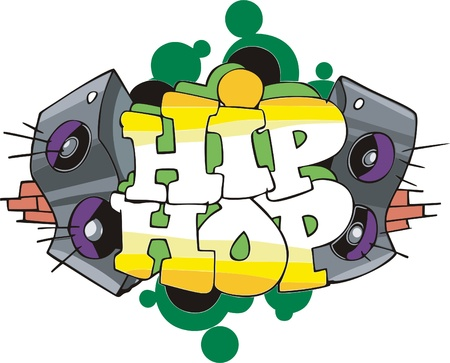 Abstract graffito design with Hip-Hop inscription and speakers. Vinyl-ready EPS Illustration.