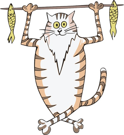 Happy stripy fat cat caught fish and carrying it on a stick. Vector vinyl-ready EPS Illustration. Stock Vector - 8432195