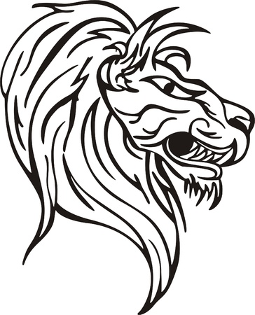 raptorial: Simple lion head design. Vinyl-ready EPS Illustration, black and white sketch.