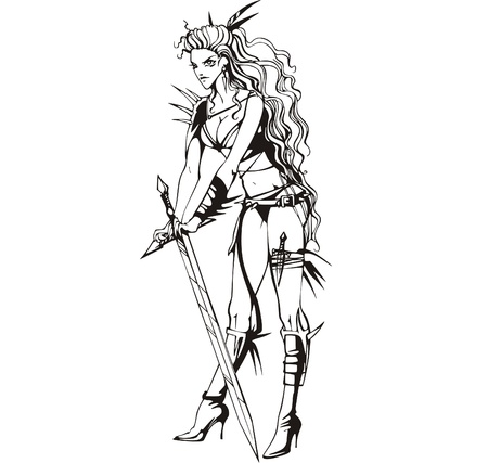 dangerous woman: Young Amazon lady with sword. Vinyl-ready EPS Illustration, black and white sketch.