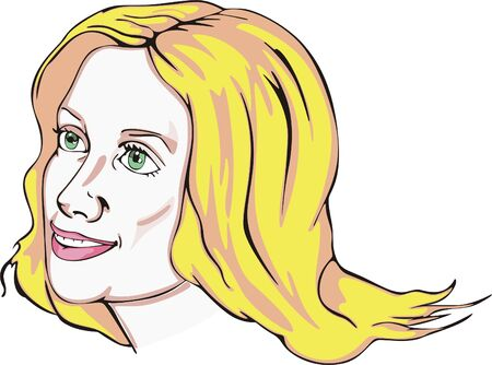 green eyes: Attractive blonde young woman with green eyes. Vinyl-ready EPS Illustration.