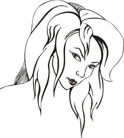 coquettish: Coquettish pretty woman. Vinyl-ready EPS Illustration, black and white sketch.