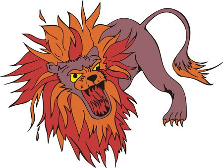 raptorial: Crazy gnarling lion with large motley mane. Vinyl-ready EPS Illustration. Illustration