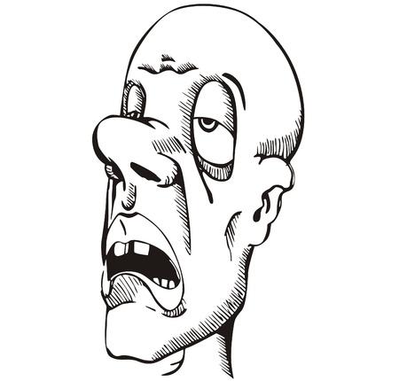 slumberous: Head of sleepy guy. Vinyl-ready EPS Illustration, black and white sketch.