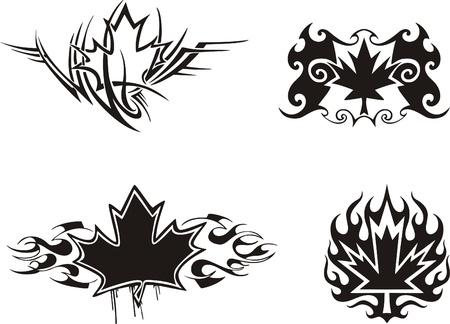 4 カナダのメープル リーフ炎 & タトゥー デザインに。ビニール準備 EPS イラスト、黒と白のスケッチ。  イラスト・ベクター素材