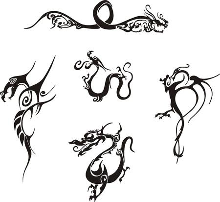 5 つの素晴らしいシンプルなドラゴンのタトゥーのデザイン。ビニール準備 EPS イラスト、黒と白のスケッチ。