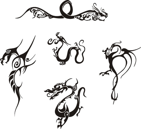 terrific: Five awesome simple dragon tattoo designs. Vinyl-ready EPS Illustrations, black and white sketches.